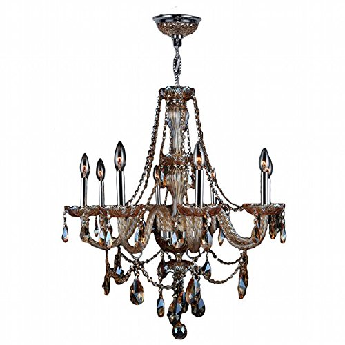 - 8 Light Chrome Finish W Amber Crystal Chandelier 28