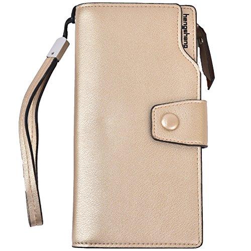 Women Lady Leather Wallet Zipper Purse RFID Credit Card Clutch Holder Case Girl (Gold)