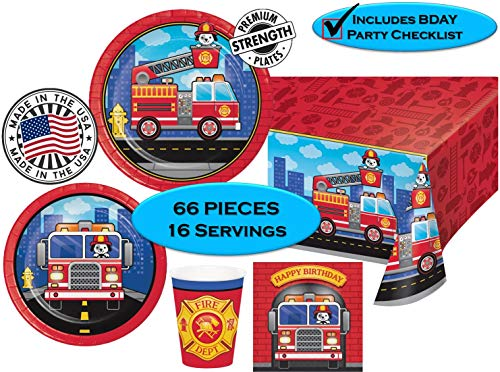 Party Birthday Fire Truck - FLAMING FIRETRUCK Birthday Party Plates, Napkins, Cups + Tablecover - Firefighters, Dalmatian and Fire Trucks Birthday Party | 65 pieces |16 guests | MADE IN THE USA