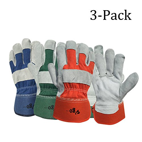 Vgo Glove Cow Split Leather Men's Work Gloves with Safety Cuff (3 Pairs, 3 Color, Size 9/L)