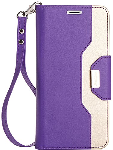 ProCase Galaxy S8 Wallet Case, Flip Kickstand Case with Card Slots Mirror Wristlet, Folding Stand Protective Cover for Galaxy S8 2017 ()