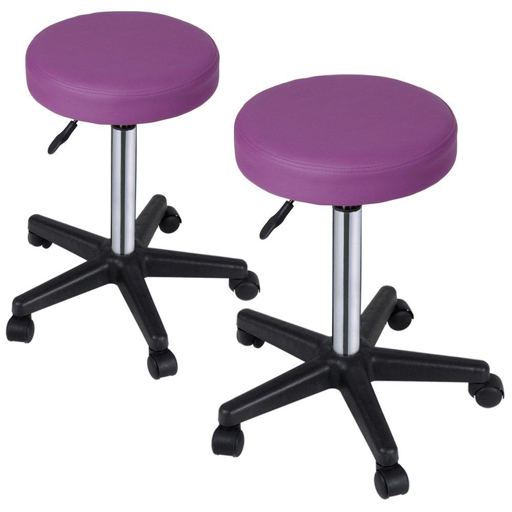 Miadomodo Sgabelli regolabili con ruote colore viola set da 2