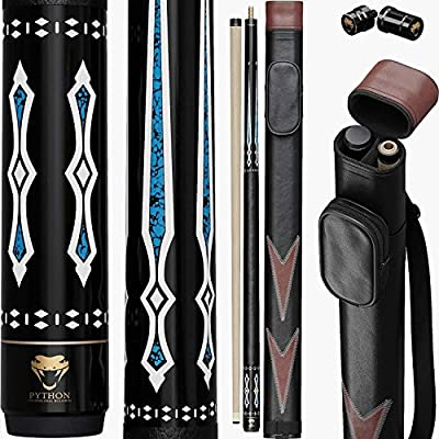 Python - 2- Pieces Pool Cue Stick 100% Canadian Maple Wood. Professional Billiard Pool Cue Stick with Hard Case and Joint Protectors: Amazon.es: Deportes y aire libre