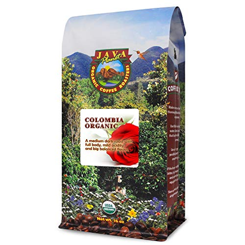 Java Planet - Colombian USDA Organic Coffee Beans, Rainforest Alliance, Low Acid, Medium Dark Roast, Whole Bean Coffee, Arabica Coffee, Gourmet Specialty Grade A - (1lb)