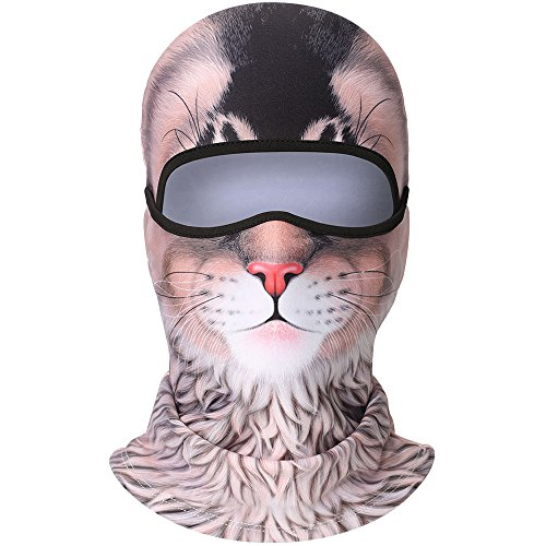 WTACTFUL 3D Animal Fleece Neck Warmer Thermal Windproof Balaclava Face Mask Protection Hood Cover for Ski Snowboard Skateboard Cycling Motorcycle Music Festivals Raves Halloween Party Men Women #7 ()
