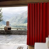 Outdoor Curtain Antique Bronze Grommet Eyelet Red 52'' W x 102'' L For Front Porch, Pergola, Cabana, Covered Patio, Gazebo, Dock, and Beach Home (1 Panel).