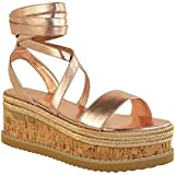 Fashion Thirsty Womens Ladies Cork Flatform Espadrille Wedge Sandals Ankle Lace Up Shoes Size