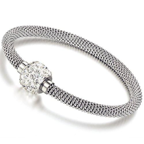 Flongo Acier Inoxydable Faux Diamant Bracelet Lien Bracelet Maille Rond Argent Fermoir Magnétique Elégant Femme