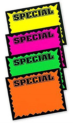 Small Colored Special Single-Sided Sign Cards - 5 1/2