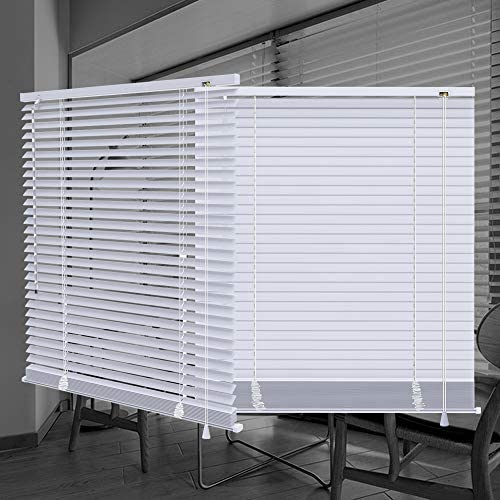 SEEYE Horizontal Venetian Slat Light Filtering Mini Window Blinds Cellular Shade Anti-UV Aluminum Easy to Install 44 W x 64 L,White