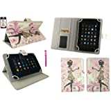 Emartbuy® Asus ZenPad C 7.0 Z170C 7 Inch Tablet Universal Range Flower Girl Multi Angle Executive Folio Wallet Case Cover With Card Slots + Hot Pink Stylus