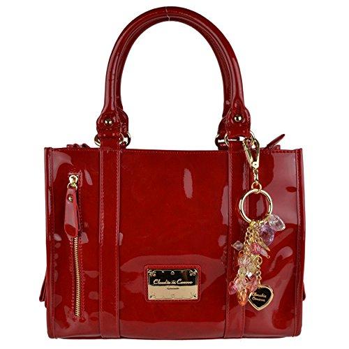 En simili cuir pour sac à main de transport Par Claudia Canova classique Rouge brillant