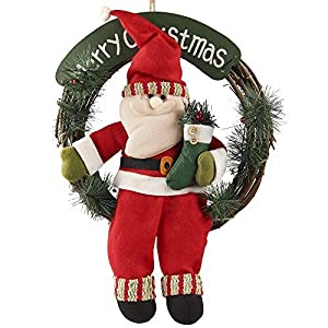 D-FantiX Santa Claus Christmas Wreath, 14 Inch Merry Christmas Front Door Wreaths Small Christmas Decorations Home Decor 92