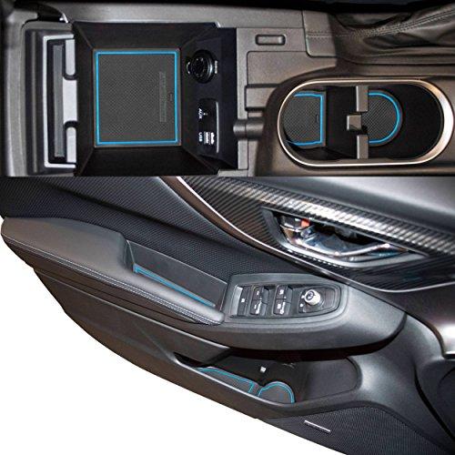 Custom Fit Cup Holder and Door Liner Accessories for 2018 2019 Subaru Impreza and Crosstrek 14-pc Set(Blue Trim) ()