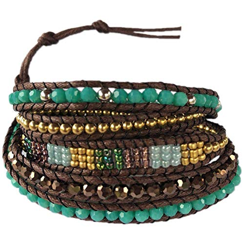 SoulTika Handmade Crystal Beaded 5 Wrap Around Bracelet Bangle Cuff Adjustable Gift Ideas for Women Teenager Girl Bohemian (Green) (Buckle Around Wrap)