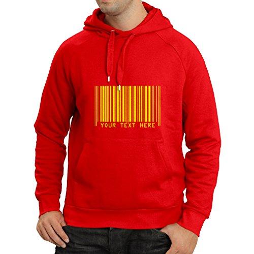 lepni.me N4006H Hoodie Funny barcode (Medium Red Yellow) by lepni.me