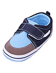 LONSOEN Toddler Newborn Synthetic Durable Rubber sole Crib Shoes Hook-and-Loop Orange and Blue Cute Fashion Shoes Crib Sneaker Shoes