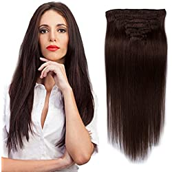 """16"""" 100g Remy Clip In Human Hair Extensions Straight Human Hair Full Head For Beauty Women Darkest Brown #2 …"""