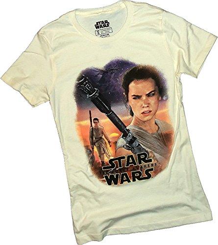 Star Wars Ep VII: The Force Awakens -- Rey Scenic Collage Juniors T-Shirt, (Collage Juniors T-shirt)