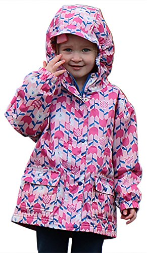 (JAN & JUL Kids Water-Proof Fleece-Lined Rain-Coat Jacket Hooded (Tulip, 6T))