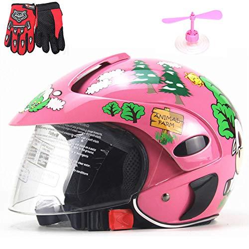 ZJRA Kinderfahrradhelm, Kindermotorradhelm, Leichter Cartoon-Schutzhelm Für 3-8 Jahre, Kinder 46-52Cm, Pink