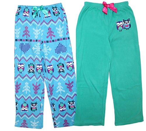 St. Eve Girls' Sleep Pant, 2-pack (7, Mint Green/Owls)