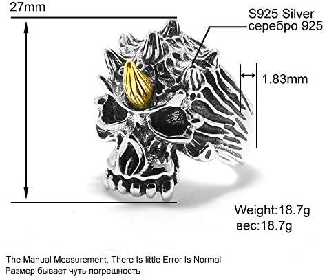 MengC 純粋な 925 スターリングシルバー男性 Warcraft の悪魔ファッションワイドスケルトンユニコーンの宝石類のギフト 281