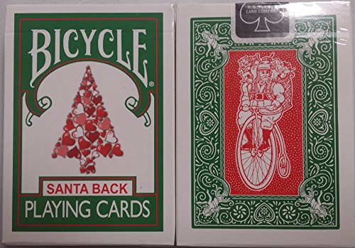 Bicycle 245 Green Deck Red Santa Maiden Back Playing (Christmas Playing Cards)
