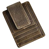 Le'aokuu Genuine Leather Magnet Money Clip Credit Card Case Holder Slim Handy Wallet (Grey 1)