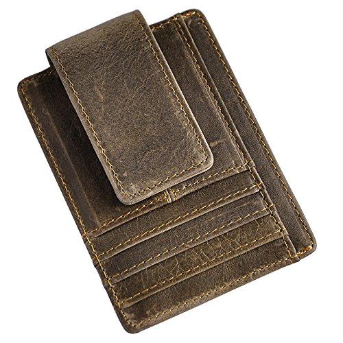 Le'aokuu Genuine Leather Magnet Money Clip Credit Card Case Holder Slim Handy Wallet (Grey ()
