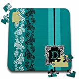 Russ Billington Monograms- Old Lace Initial D - Monogram Initial D in Teal White and Black Lace - 10x10 Inch Puzzle (pzl_239055_2)