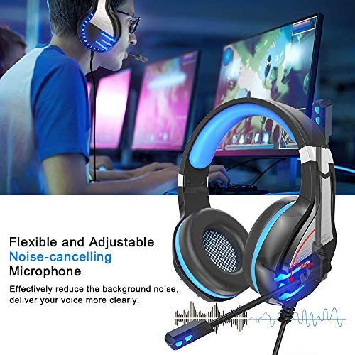 NPET HS10 Stereo Gaming Headset for PS4, PC, Xbox One Controller, Noise Cancelling Over-Ear Headphones with Mic, Soft Memory Earmuffs, LED Backlit, Volume Control (Blue)
