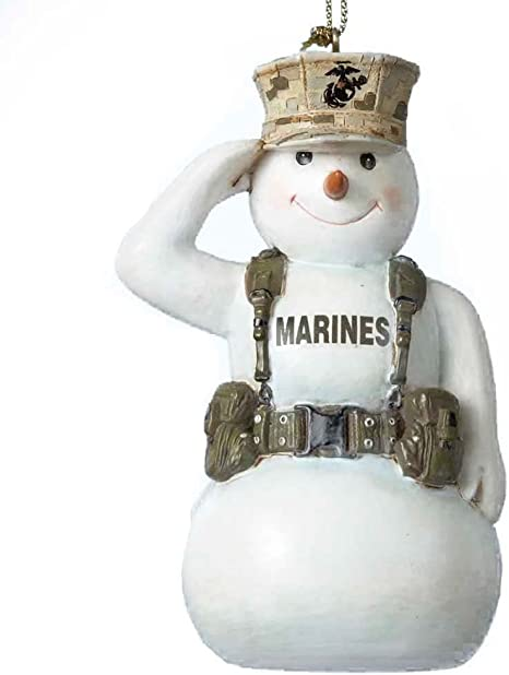 Amazon Com Kurt Adler United States Marine Corps Saluting Snowman Usmc Christmas Ornament Mc2132 New Home Kitchen