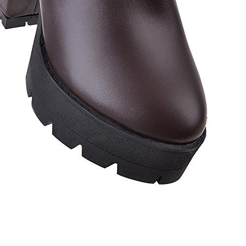 AgooLar Women's Pull-on High-Heels PU Solid High-top Boots Brown TEiSqEN7w