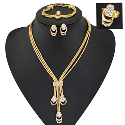 Fheaven Women Girl Three Circle Necklace, Earring, Bracelet,Handcuffs Ring Set Metal Alloy Gift