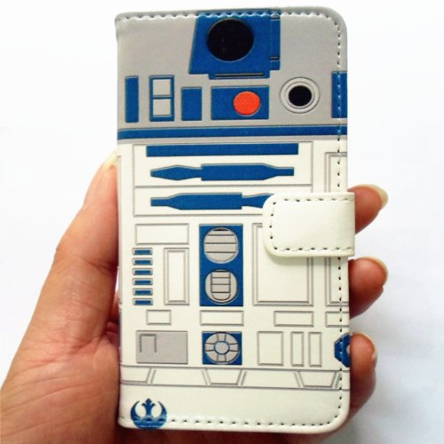 SunshineCase Unique R2D2 Robot Design Pattern Slim Wallet Card Flip Stand PU Leather Pouch Case Cover for Apple iPod Touch 5, Touch 6 and iPod Touch 7 (Ipod Touch Pouch)