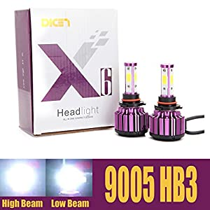 HB3 9005 Car LED Headlight Bulbs Conversion Kit H10 High Beam 20000 Lumens Cool White Headlamp 6000K 360 Degree Beam Angle - 2 Yr Warranty