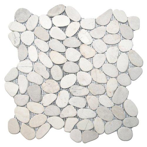 White Pebble Tile - Sliced White Pebble Tile 1 sq.ft. (Mesh Mounted)