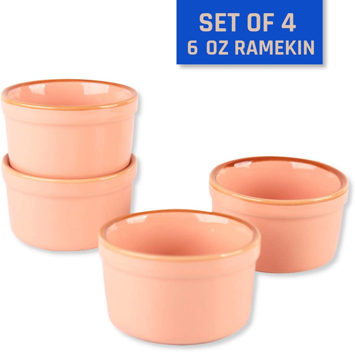 KVV Ceramics Ramekin Set Of 4 (6 oz/ 200ml) Porcelain Souffle Dish Ramekins for Creme Brulee Pudding Oven Safe, Classic Style Ramekins Bowls for Baking (Ramekin Pink)