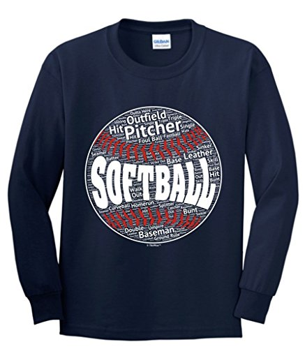 ftball Softball Word Collage Softball Player Gift Youth Long Sleeve T-Shirt Large Navy ()