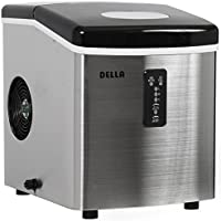 Stainless Steel Portable Countertop Ice Maker 35 Pound with 3 Cube Size for Parties or Hot Summer day (Top Black)