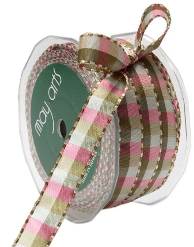 May Arts 1/2-Inch Wide Ribbon, Green and Pink Check