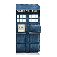 iPhone Wallet Case with Card Slot PU Leather Doctor Who Tardis Police Box Filp (iPhone 7)