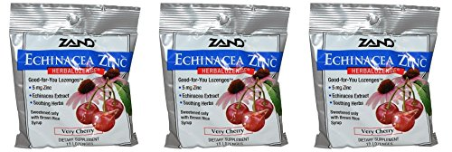 Zand HerbaLozenge Organic Cherry Echinacea Zinc (Pack of 3) With Zinc, Vitamin C and Menthol, 15 count each.