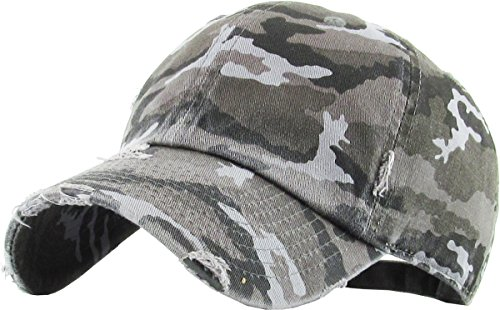 (KBETHOS Vintage Washed Distressed Cotton Dad Hat Baseball Cap Adjustable Polo Trucker Unisex Style Headwear (Vintage) Black Camo Adjustable)