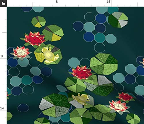 Origami Frog Fabric - Lotus Pond Lilly Pad Lake Japanese Art Green Blue Red Flower Gold Yellow Print on Fabric by The Yard - Petal Signature Cotton for Sewing Quilting Apparel Crafts Decor