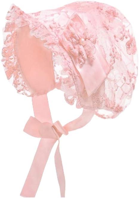 Fenical Bonnet de b/éb/é Filles en Dentelle Bonnet de bapt/ême Bonnet pour b/éb/é Princesse Chapeau de Soleil Fleur Bonnet Accessoires de 0 /à 2 Ans