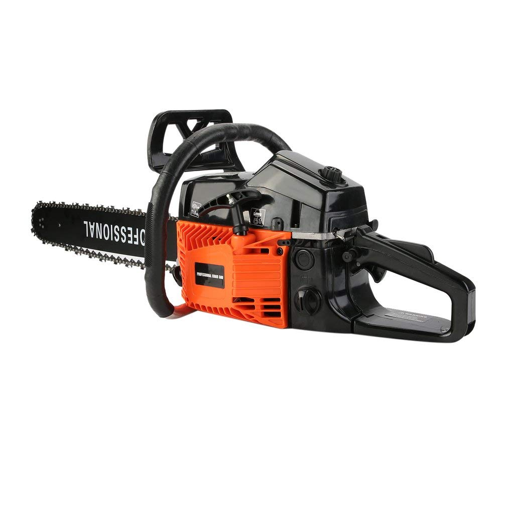 Soberbar Gas Chainsaw Professional Petrol Chain Saw 18 52CC 2 Cycle with Double Spring STE-5800 for Tree Pruning Clearing Land Preparing Firewood(Orange & Black