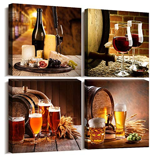 Kitchen wall decor Restoring ancient ways Still life Wine glass Wine barrel Canvas Prints Wall Art for Dining Room Bar Home Decorations 12x12 inch/4 piece restaurant posters decor Artwork Home decor