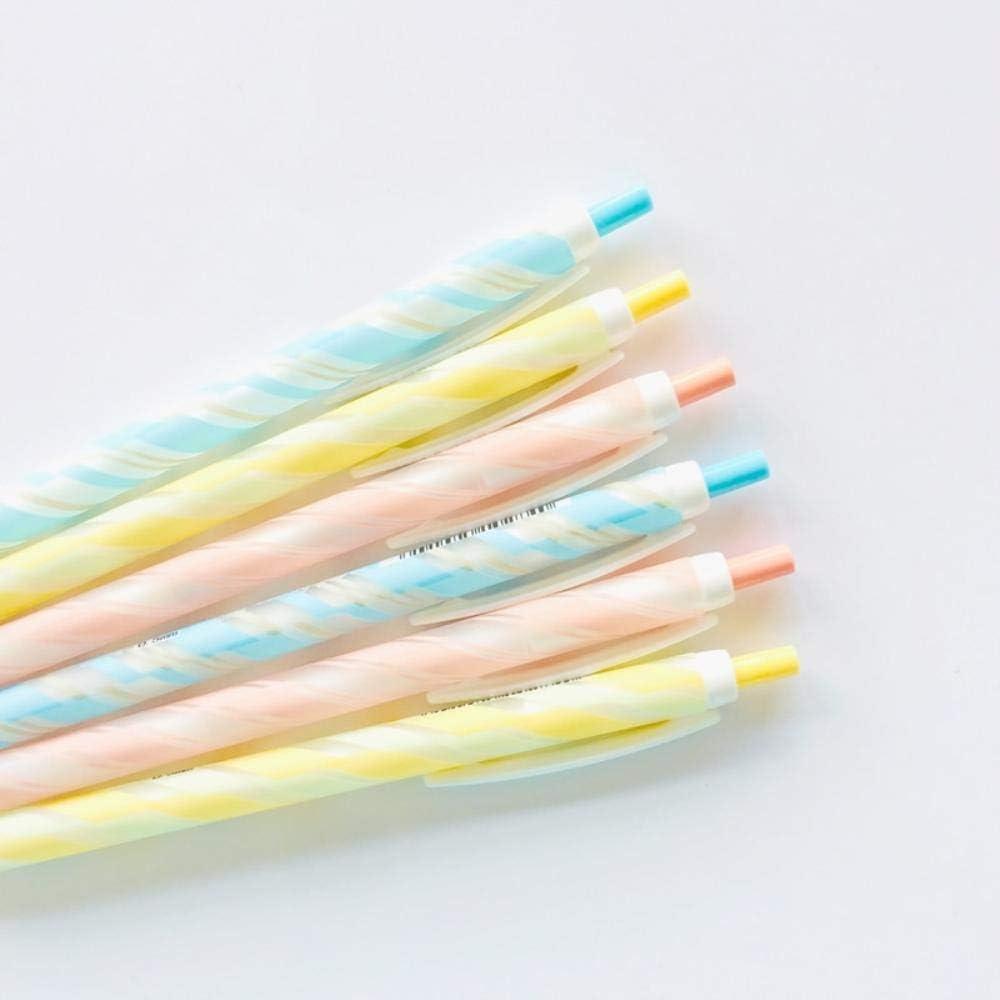 2X Cute Candy Twill Striped Press Mechanical Pencil School Stationery 0.5mm